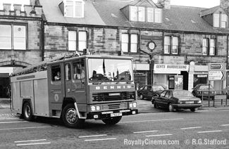 A fire engine leaves the Gosforth fire station in 1987